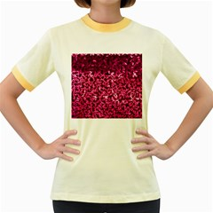 Pink Cubes Women s Fitted Ringer T-Shirts