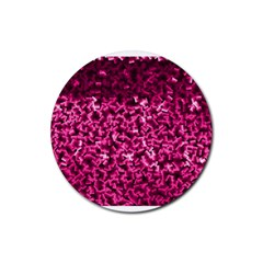 Pink Cubes Rubber Round Coaster (4 Pack)