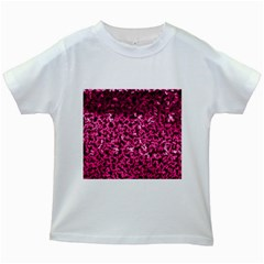 Pink Cubes Kids White T-Shirts
