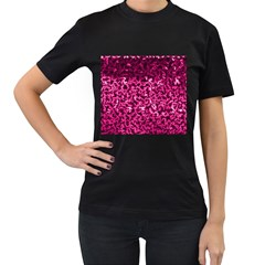 Pink Cubes Women s T-Shirt (Black) (Two Sided)