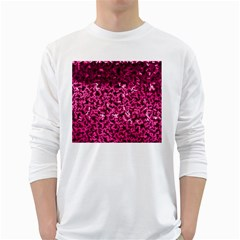 Pink Cubes White Long Sleeve T-Shirts