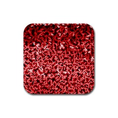 Red Cubes Rubber Square Coaster (4 Pack)