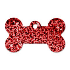 Red Cubes Dog Tag Bone (one Side)