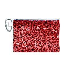 Red Cubes Canvas Cosmetic Bag (M)