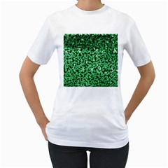 Green Cubes Women s T Shirt (white) (two Sided)