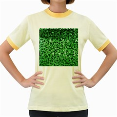 Green Cubes Women s Fitted Ringer T-Shirts