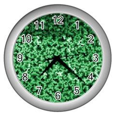 Green Cubes Wall Clocks (silver)