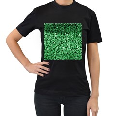 Green Cubes Women s T-Shirt (Black) (Two Sided)