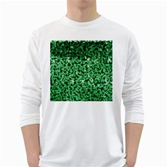 Green Cubes White Long Sleeve T Shirts