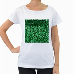 Green Cubes Women s Loose-Fit T-Shirt (White)