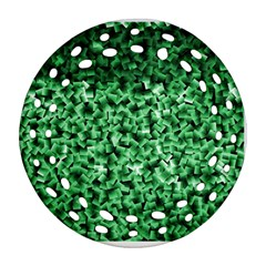 Green Cubes Round Filigree Ornament (2side)