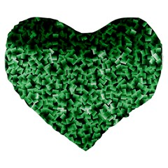 Green Cubes Large 19  Premium Flano Heart Shape Cushions