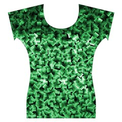 Green Cubes Women s Cap Sleeve Top
