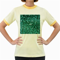 Teal Cubes Women s Fitted Ringer T-Shirts