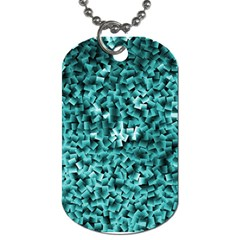 Teal Cubes Dog Tag (one Side)