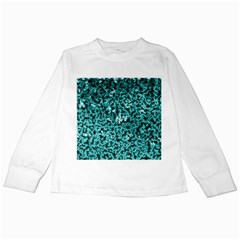 Teal Cubes Kids Long Sleeve T-Shirts