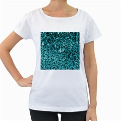 Teal Cubes Women s Loose Fit T Shirt (white)