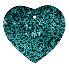 Teal Cubes Heart Ornament (2 Sides)