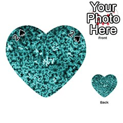 Teal Cubes Playing Cards 54 (heart)