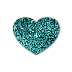 Teal Cubes Rubber Coaster (heart)