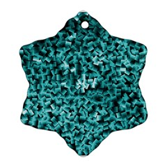 Teal Cubes Snowflake Ornament (2 Side)