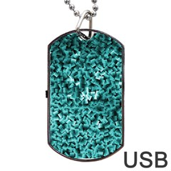 Teal Cubes Dog Tag Usb Flash (two Sides)