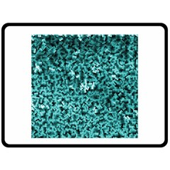 Teal Cubes Double Sided Fleece Blanket (Large)