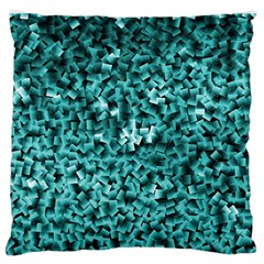 Teal Cubes Large Flano Cushion Cases (One Side)