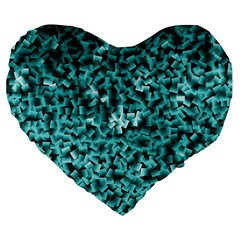 Teal Cubes Large 19  Premium Flano Heart Shape Cushions