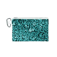 Teal Cubes Canvas Cosmetic Bag (S)