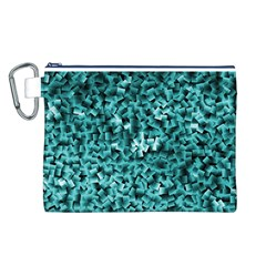 Teal Cubes Canvas Cosmetic Bag (L)