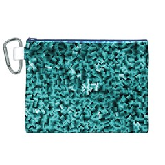 Teal Cubes Canvas Cosmetic Bag (XL)