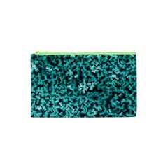 Teal Cubes Cosmetic Bag (XS)