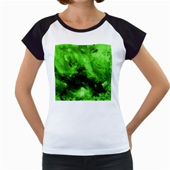 Bright Green Abstract Women s Cap Sleeve T