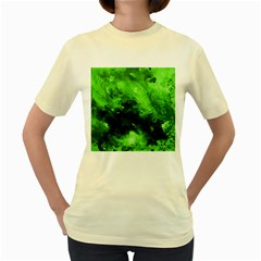 Bright Green Abstract Women s Yellow T-Shirt
