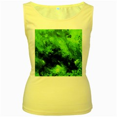 Bright Green Abstract Women s Yellow Tank Tops