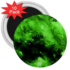 Bright Green Abstract 3  Magnets (10 Pack)
