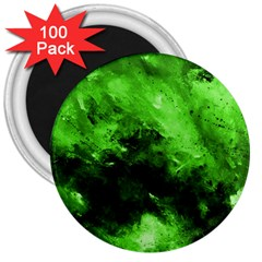 Bright Green Abstract 3  Magnets (100 Pack)