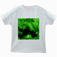 Bright Green Abstract Kids White T-Shirts