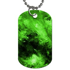 Bright Green Abstract Dog Tag (one Side)