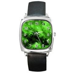 Bright Green Abstract Square Metal Watches