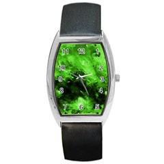 Bright Green Abstract Barrel Metal Watches
