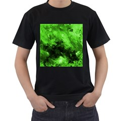 Bright Green Abstract Men s T Shirt (black) (two Sided)