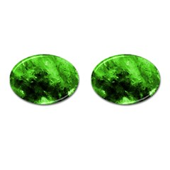 Bright Green Abstract Cufflinks (oval)