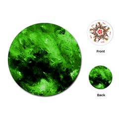 Bright Green Abstract Playing Cards (round)