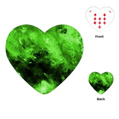 Bright Green Abstract Playing Cards (Heart)