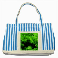 Bright Green Abstract Striped Blue Tote Bag
