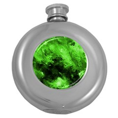 Bright Green Abstract Round Hip Flask (5 Oz)