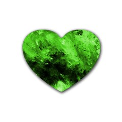Bright Green Abstract Rubber Coaster (heart)