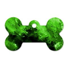 Bright Green Abstract Dog Tag Bone (two Sides)